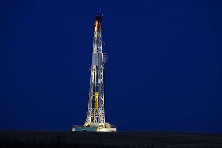 Drilling Rig Potash Mine Night Photography