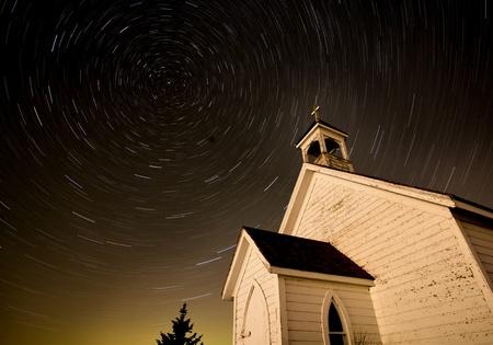 christian worship: Church Night Star Trails Photography Canada Religion