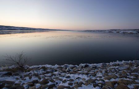 Sunset on Frozen Lake in Saskatchewan Canada Stock Photo - 12506974