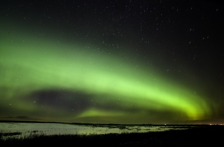 magnetosphere: Northern Lights Saskatchewan Canada green color and shape