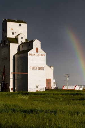 Grain Elevator and rainbow in Saskatchewan Canada Stock Photo - 12919114