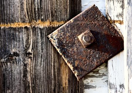 Close up door latch barn Canada Saskatchewan Imagens