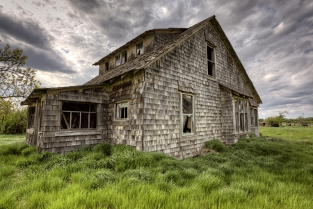 Exterior Abandoned House Prairie Saskatchewan Canada Stock Photo - 13849268