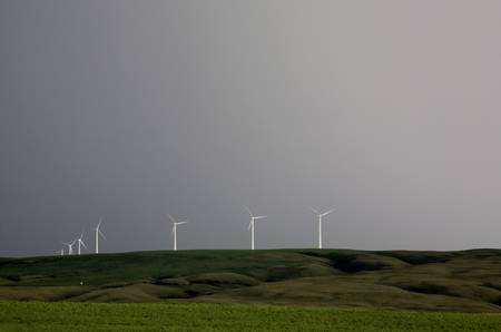 Storm Clouds Saskatchewan wind farm Swift Current Canada Stock Photo - 16226302