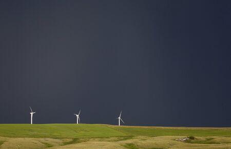 Storm Clouds Saskatchewan wind farm Swift Current Canada Stock Photo - 16226340