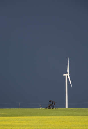 Storm Clouds Saskatchewan wind farm Swift Current Canada Stock Photo - 16226356
