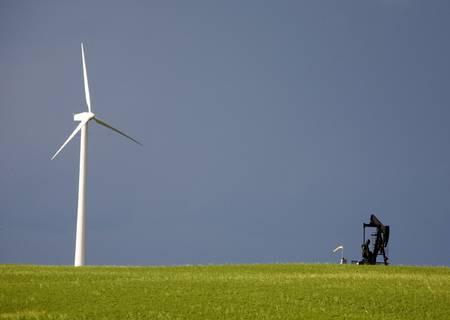 Storm Clouds Saskatchewan wind farm Swift Current Canada Stock Photo - 16226452