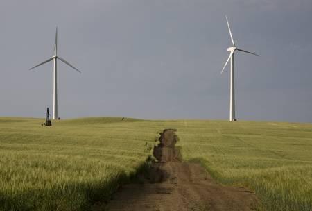 Storm Clouds Saskatchewan wind farm Swift Current Canada Stock Photo - 16226486