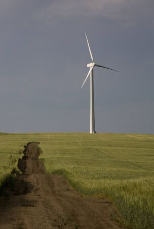 Storm Clouds Saskatchewan wind farm Swift Current Canada Stock Photo - 16227065