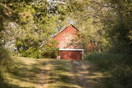 Old Red Barn at end of road Canada photo