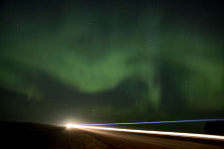 Northern Lights over a Saskatchewan road highway
