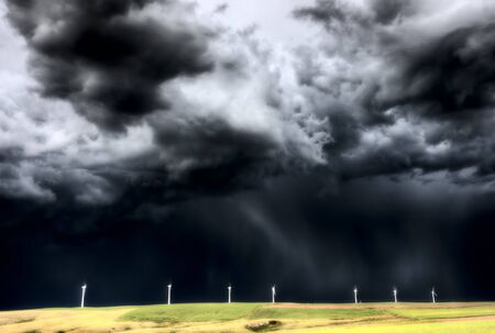Storm Clouds Saskatchewan wind farm Swift Current Canada Stock Photo - 16226482