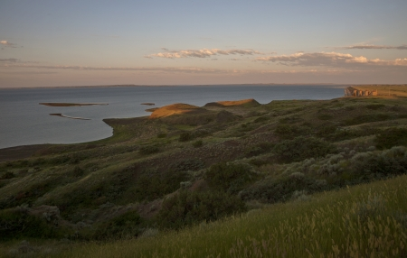 peck: Fort Peck Montana lake at sunrise USA