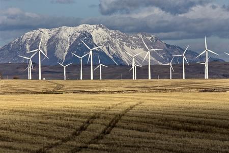 power: Wind Farm Canada Pincher Creek Rocky Mountains Stock Photo