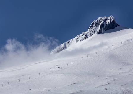 oregon  snow: Mount Hood Oregon snow cap scenic mountain Stock Photo
