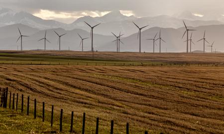 Wind Farm Canada Pincher Creek Rocky Mountains Banco de Imagens