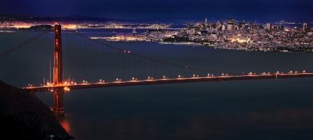 San Fransisco Skyline nacht schot van hoog gezichtspunt