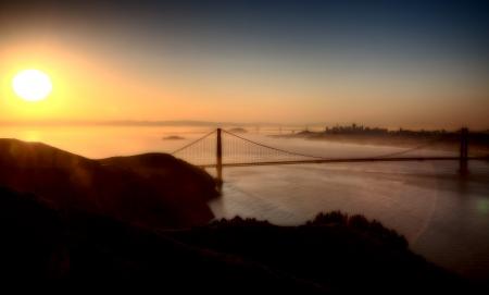 San Fransisco Skyline zonsopgang van hoog gezichtspunt