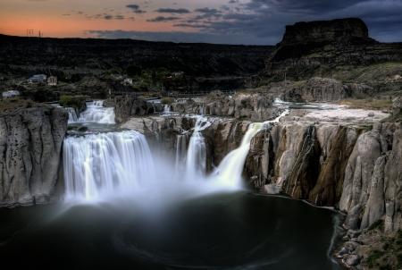 Shoshone Falls Twin Falls, Idaho wazig water bij zonsondergang Stockfoto