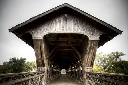 Wooden Covered Bridge Guelph Ontario over eramosa river