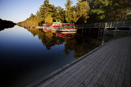 pinery: Canoe Rental Lake Huron Pinery Park Canada Stock Photo