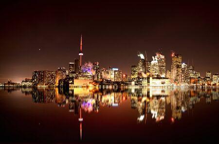 Night Shot Toronto skyline in Ontario Canada