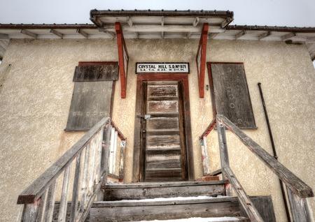 one room school house: Abandoned School House one room Canada Saskatchewan Stock Photo