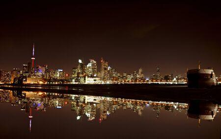ontario: Night Shot Toronto skyline in Ontario Canada