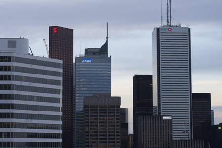 ontario: Toronto Skyline from rooftop Gerrard Street Ontario