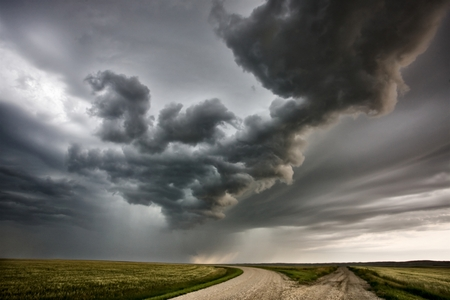lightning storm: Storm Clouds Prairie Sky Canada Ominous danger Stock Photo