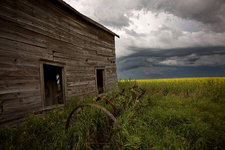 ominous: Storm Clouds Prairie Sky Canada Ominous danger Stock Photo