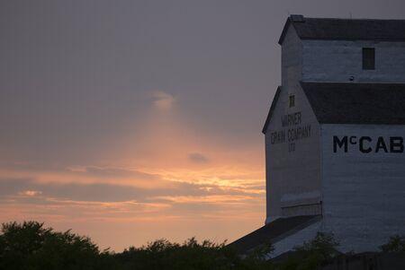 canada agriculture: Wooden Grain Elevator in Manitoba Canada Prairie