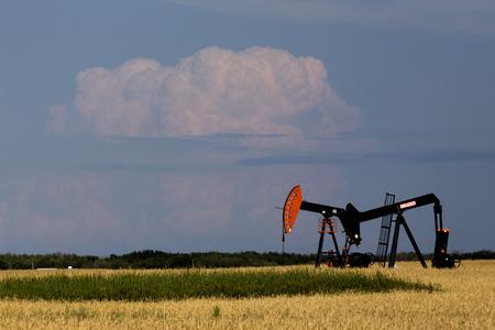 pump jack: Oil and Gas Pump Jack Prairie Landscape Saskatchewan Canada