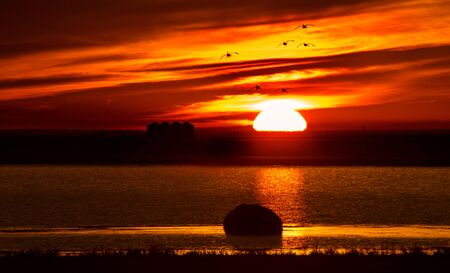 saskatchewan: Sunset Rural Saskatchewan near Moose Jaw farmland Stock Photo