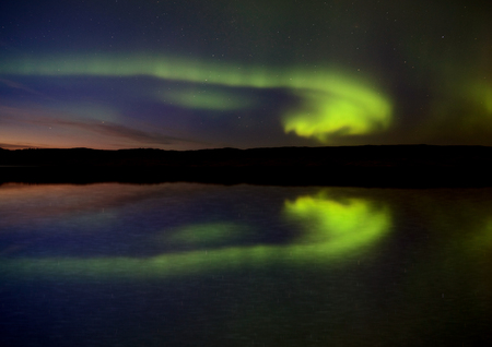 magnetosphere: Night Shot Northern Lights Saskatchewan Canada lake reflection