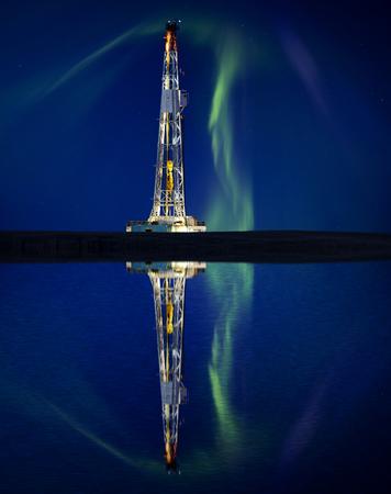 oilrig: Drilling Rig and Lake Reflection Northern Lights Aurora Stock Photo