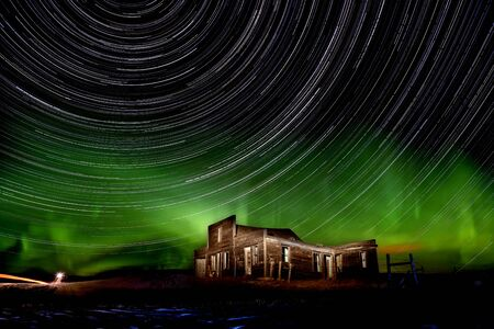 Northern Lights Canada rural Saskatchewan star trails