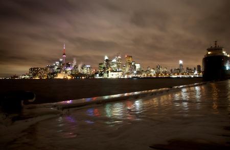 ice storm: Toronto Polson Pier Winter ice storm skyline city Stock Photo