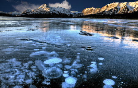 frozen lake: Abraham Lake Winter Ice formations bubbles design