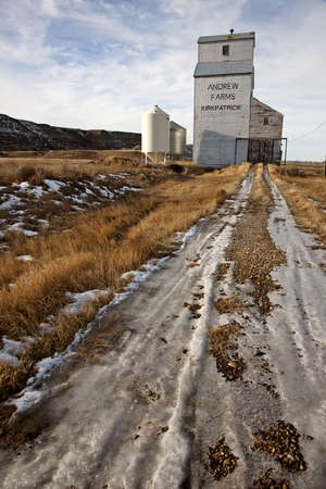 agribusiness: Grain Elevator near Drumheller vintage old wooden