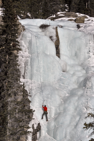 crampons: Ice Climbing Tangle Falls Alberta Canada Rocky Mountains Stock Photo