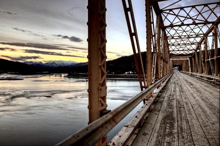 saskatchewan: Bridge over Saskatchewan River Rocky Mountains Canada Stock Photo