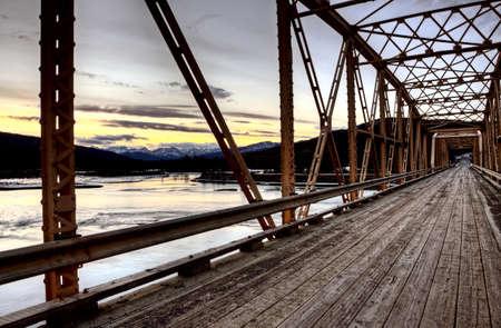 rocky mountains: Bridge over Saskatchewan River Rocky Mountains Canada Stock Photo