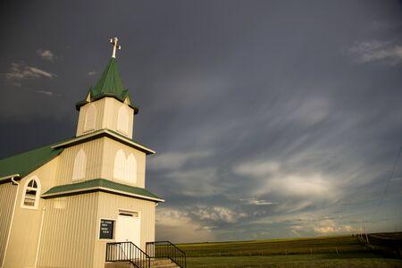 country church: Storm Clouds Saskatchewan country church in Canada