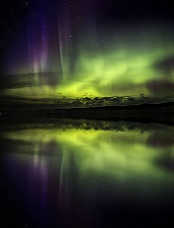 auroral: Northern Lights Aurora Borealis Saskatchewan lake reflection