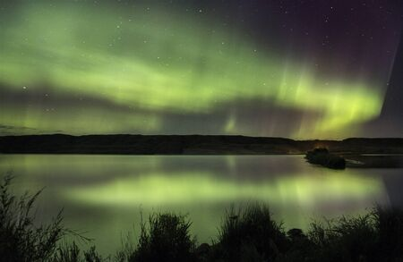 auroral: Northern Lights Aurora Borealis Saskatchewan reflection lake