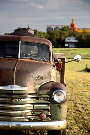 vintage truck: Old Vintage Truck prairie scene Saskatchewan Canada Stock Photo