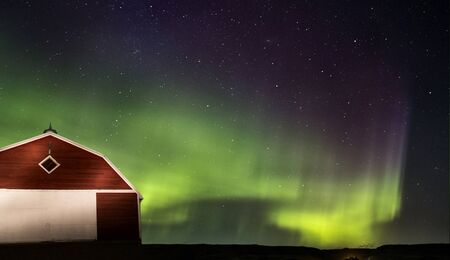 auroral: Northern Lights Aurora Borealis Saskatchewan Red Barn Stock Photo