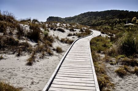 Passerella di legno Nuova Zelanda Isola del Sud Isola del Sud Archivio Fotografico - 78050540