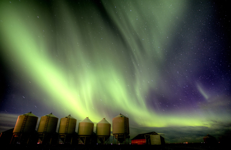Northern Lights Canada Rural Saskatchewan Farm Yard